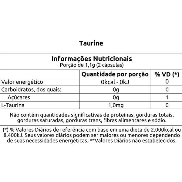 Taurine L-Taurina 500mg - 60 Cápsulas