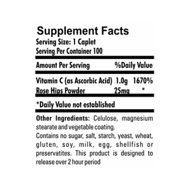 Vitamina C 1000mg Rose Hips 100 Tabletes
