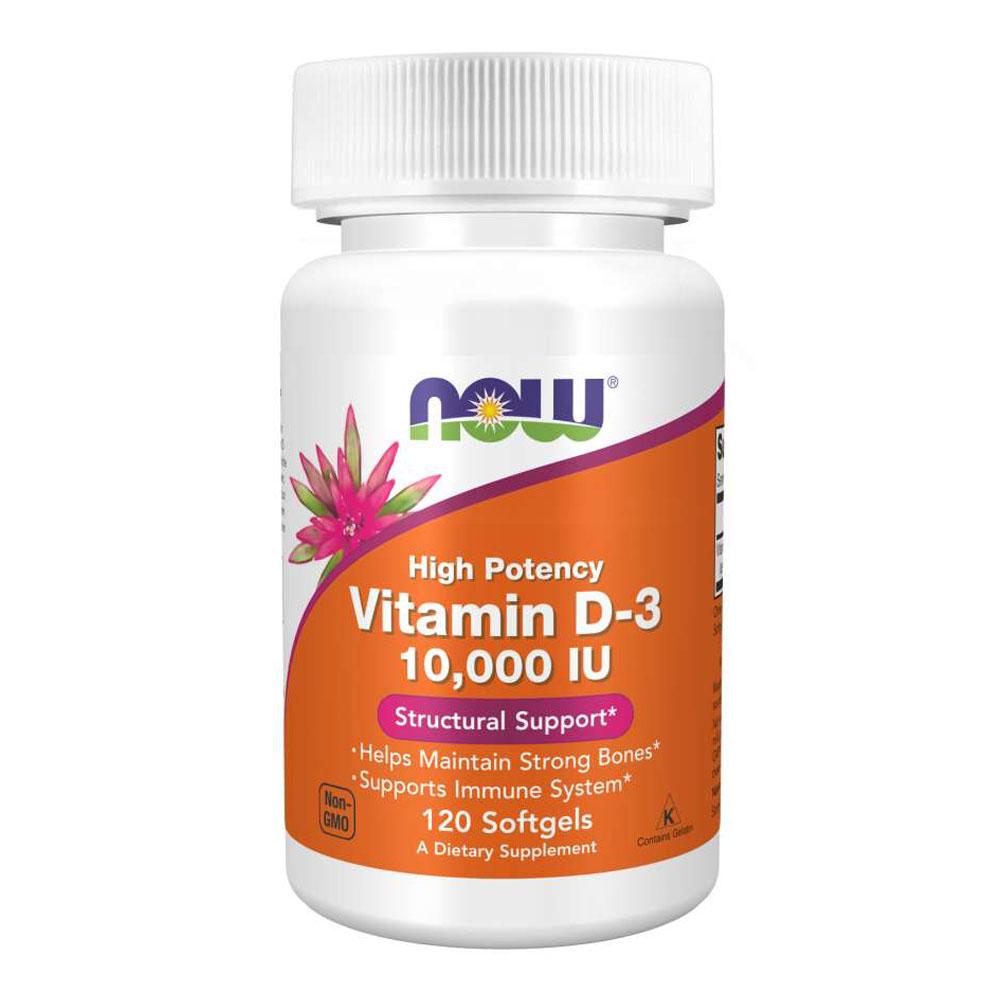 Vitamina D3 10.000 IU (120 Cápsulas) - Now Foods