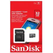 Cartão de Memória Sandisk 32GB MicroSD (microSDHC) Classe 4 com Adaptador - SDSDQM-032G-B35A