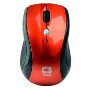 Mouse C3 Tech Óptico Sem Fio (wireless 2,4 ghz) M-W012RD Vermelho