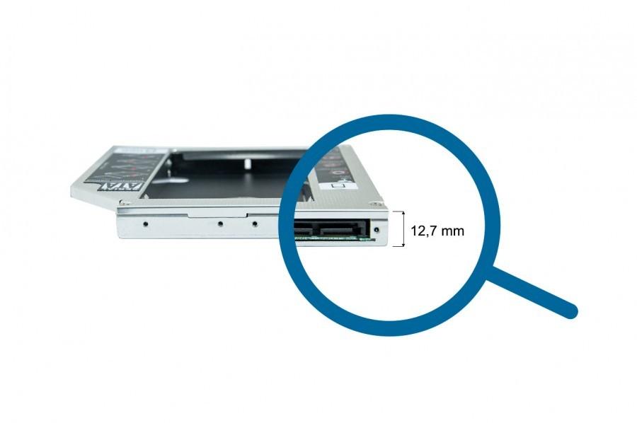 Adaptador BringIT Caddy DVD para HD 2.5' Ou SSD 2.5' Sata III 12.7mm