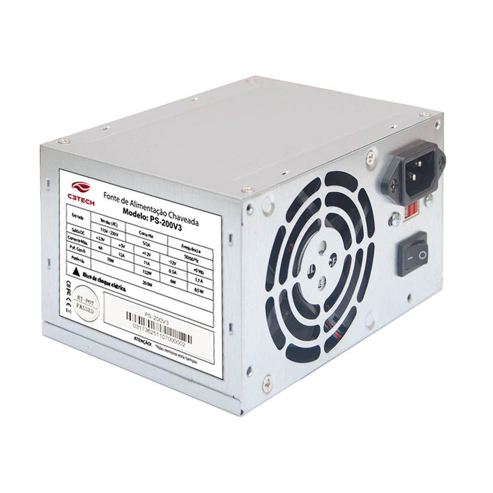 Fonte C3 Tech ATX 200W Reais - PS-200V3 Sem Cabo