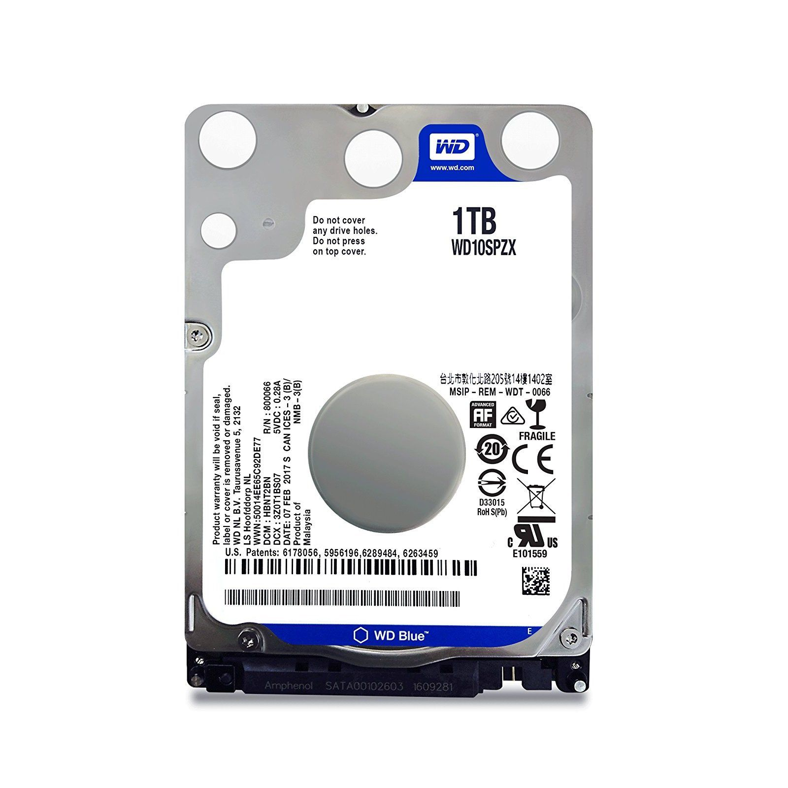 HD WD (Western Digital) Blue Notebook 1TB 5.400RPM 16MB Cache Sata III 2.5' 6.0Gb/s - WD10SPZX