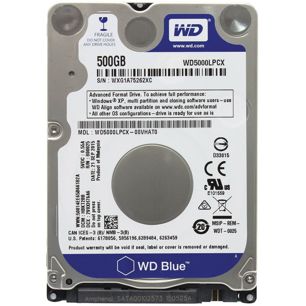HD WD (Western Digital) Blue Notebook 500GB 5.400RPM 8MB Cache Sata III 2.5' 6.0Gb/s - WD5000LPCX