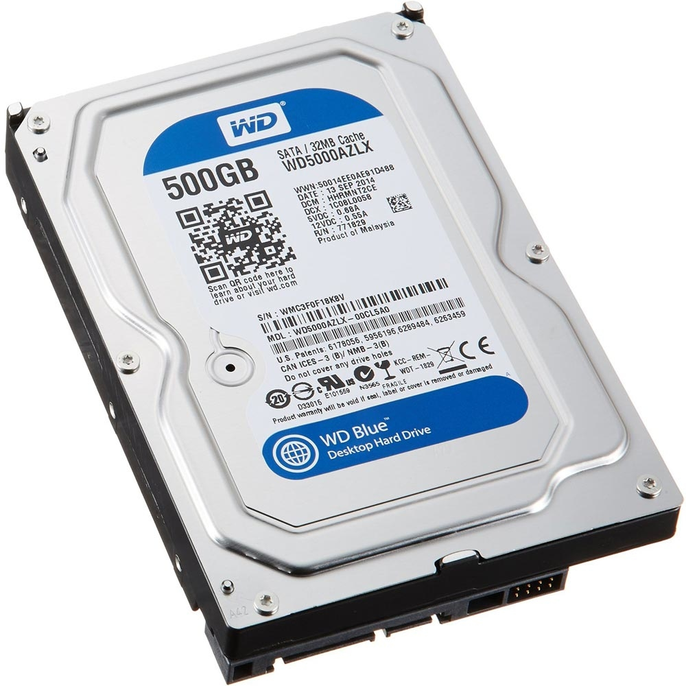 HD WD (Western Digital) Blue 500GB 7.200RPM 32MB Cache Sata III 3.5' 6.0Gb/s - WD5000AZLX