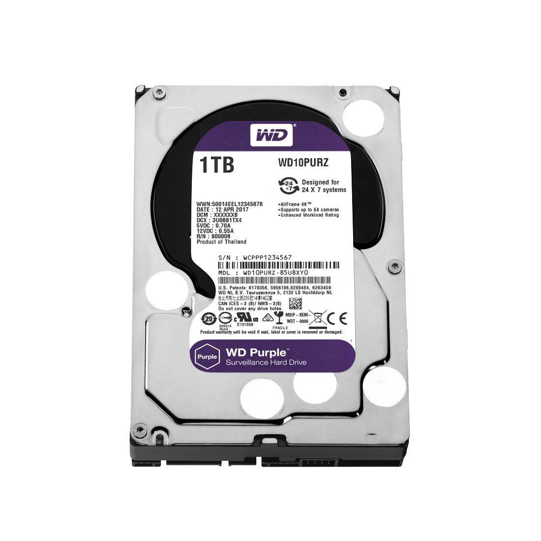 HD WD (Western Digital) Purple Surveillance CFTV 1TB IntelliPower 64MB Cache Sata III 3.5' 6.0Gb/s - WD10PURZ