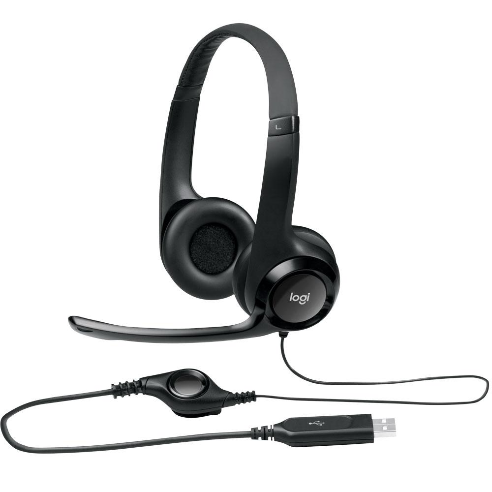 Headset Logitech Áudio Digital USB Preto - H390