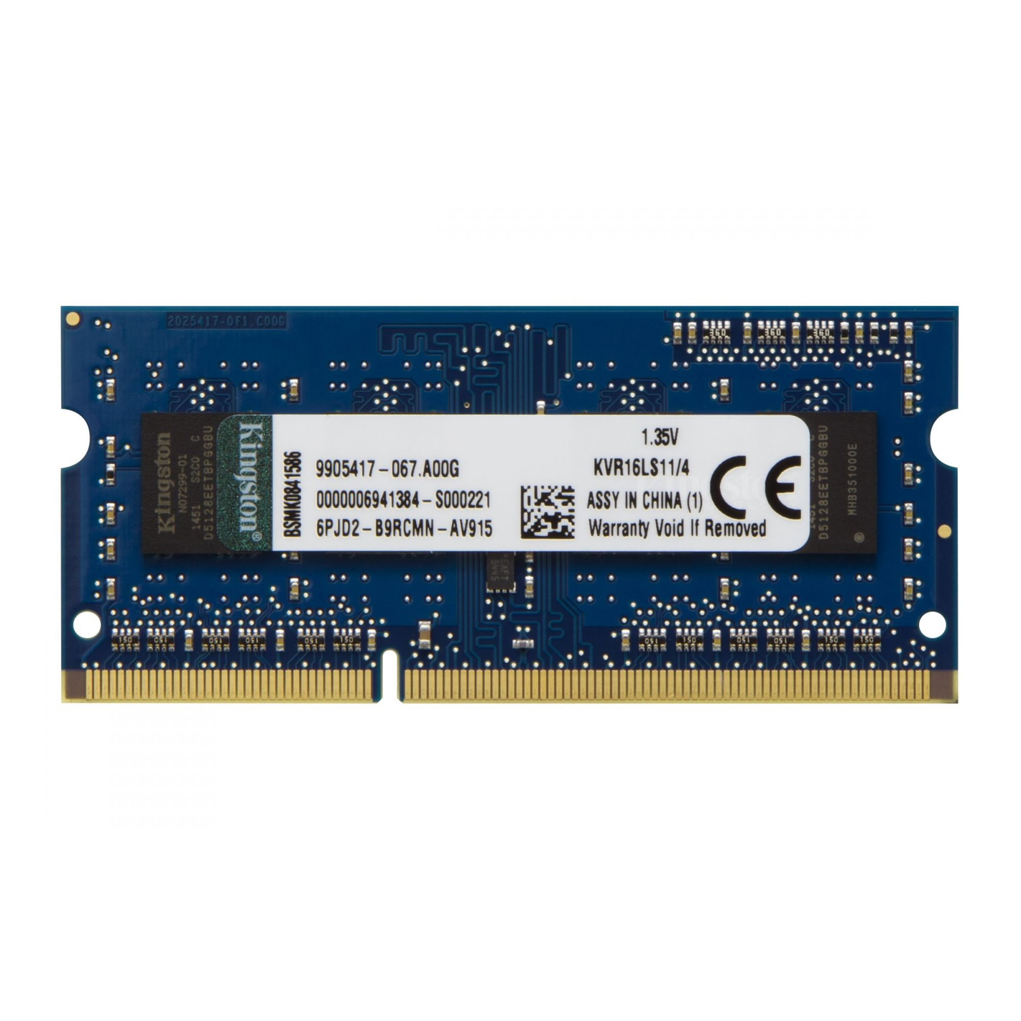 Memória Kingston 4GB 1600Mhz 1.35v DDR3L p/ Notebook CL11 - KVR16LS11/4
