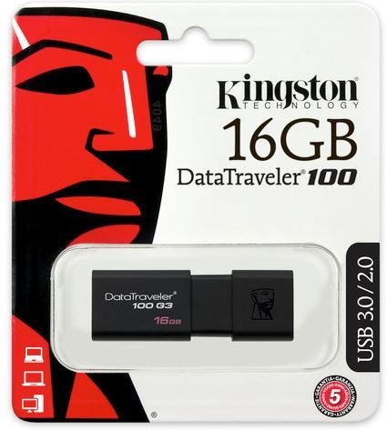 Pen Drive Kingston 16GB DT100G3 USB 3.0
