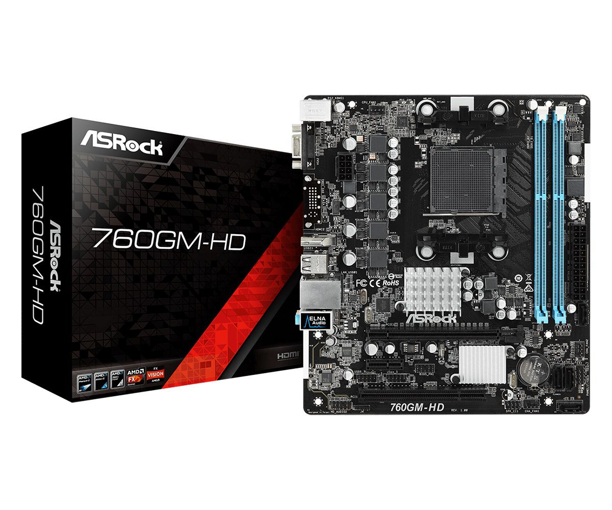 Placa Mãe ASRock P/ AMD AM3+ mATX DDR3 - 760GM-HD