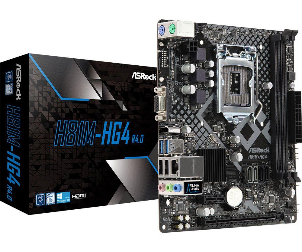 Placa Mãe ASRock P/ Intel LGA 1150 mATX H81M-HG4 DDR3