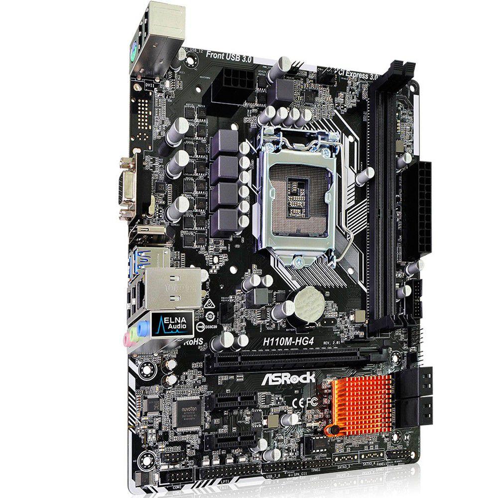 Placa Mãe ASRock P/ Intel LGA mATX 1151 H110M-HG4 DDR4