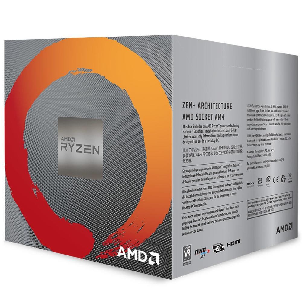 Processador AMD Ryzen 5 3400G AM4 3.7GHz (4.2 GHz Max Turbo), Cache 6MB - YD3400C5FHBOX
