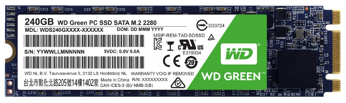 SSD WD (Western Digital) 240GB WD Green M.2 2280 - WDS240G2G0B