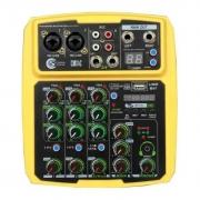Mesa De Som Custom Sound Cmx 4c Bt Usb Interface Amarelo