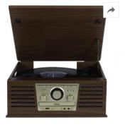 Toca Discos Raveo Sonata Bivolt Madeira Conexão Bluetooth USB Rádio FM CD Player e Gravação
