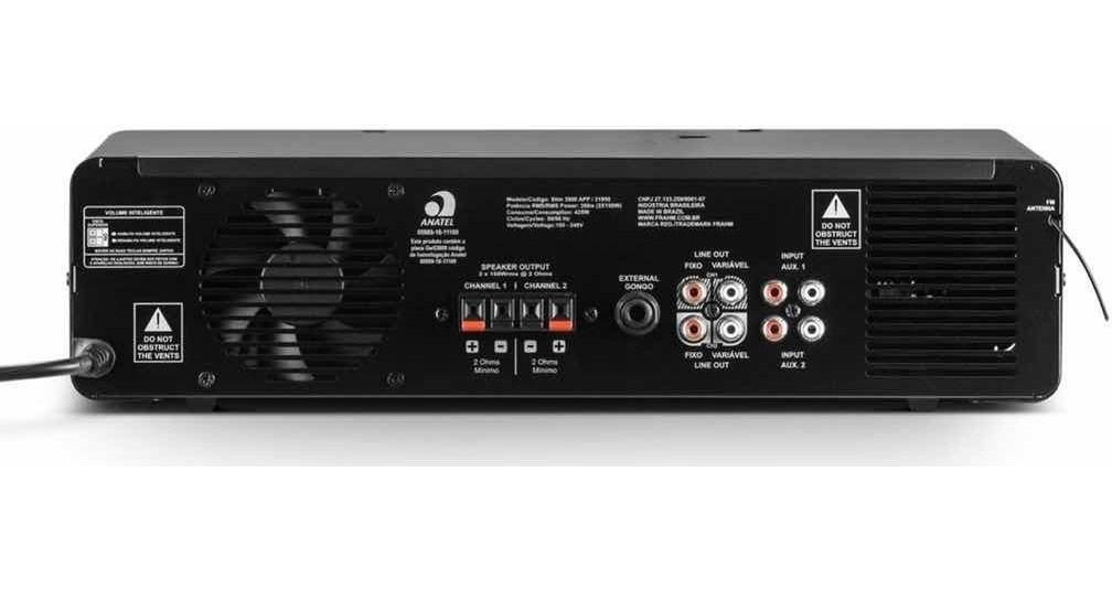 Amplificador De Som SLIM 3900 APP 2 OHMS BT USB/ FM Bluetooth