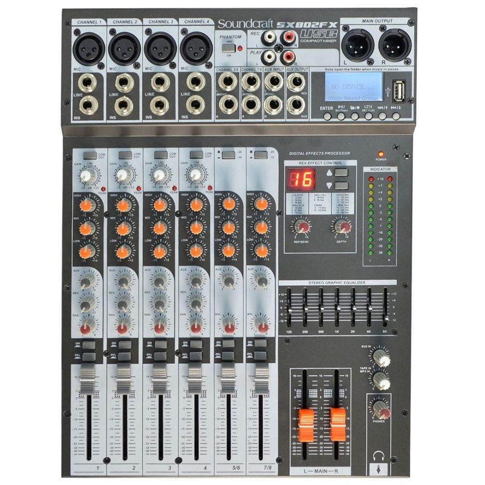 Mesa de Som Soundcraft SX802FX USB 8 Canais Bivolt