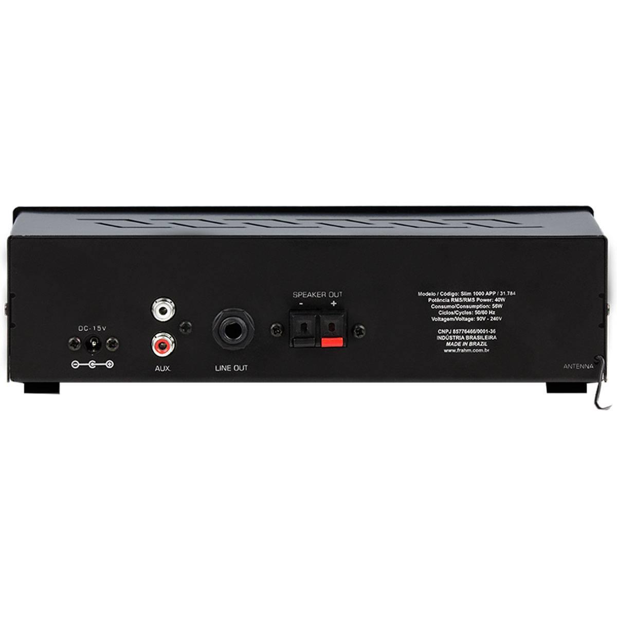 Amplificador Frahm Slim 1000 APP  Bluetooth USB SD FM - Até 12 Caixas