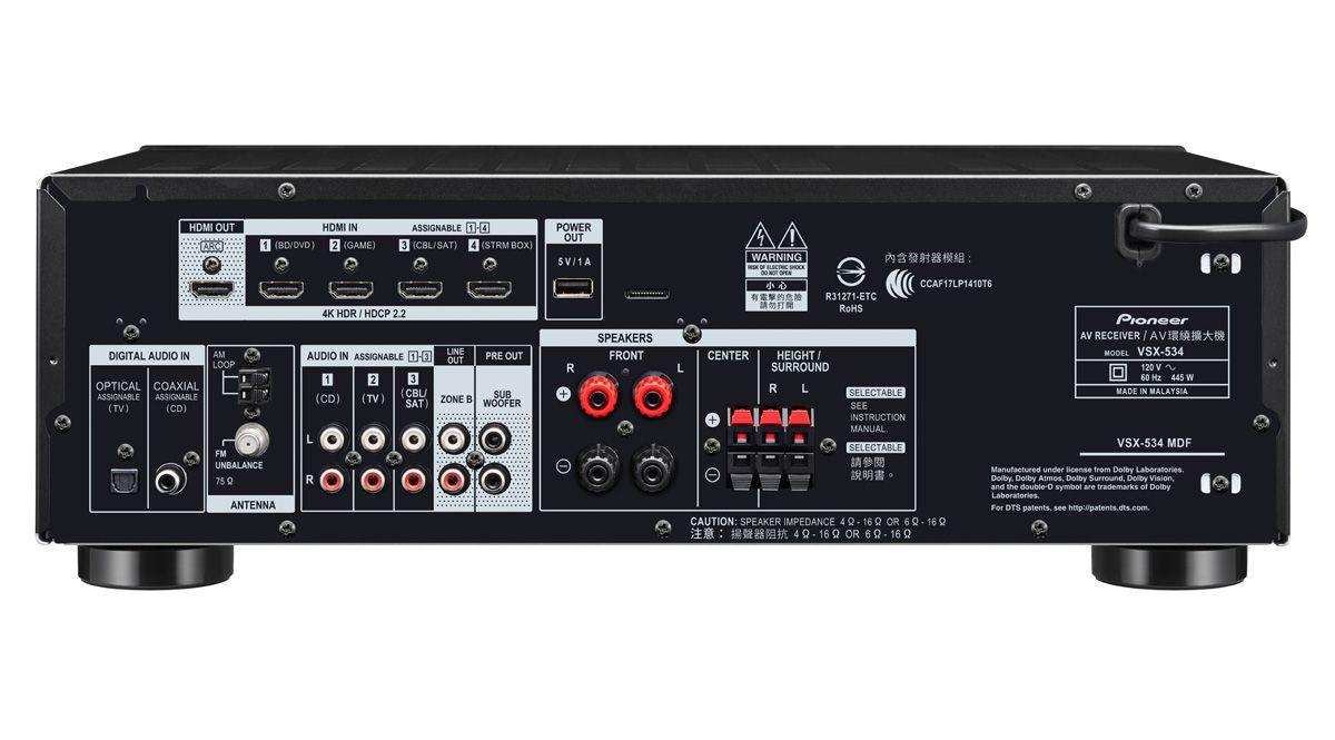 Receiver Pioneer VSX-534 - 5.2 Canais