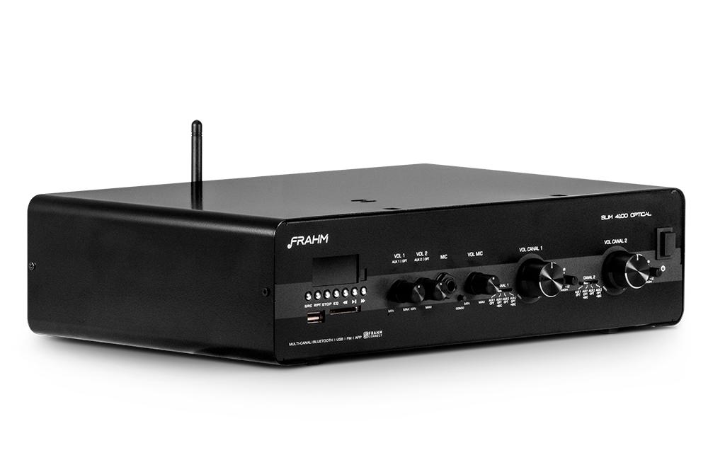 Amplificador Receiver Frahm Slim 4100 Optical Bt Usb Aux Fm