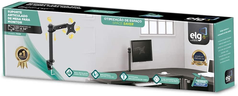 "Suporte Articulado de Mesa para Monitores de 17"" a 27"" ELG F50N Preto"