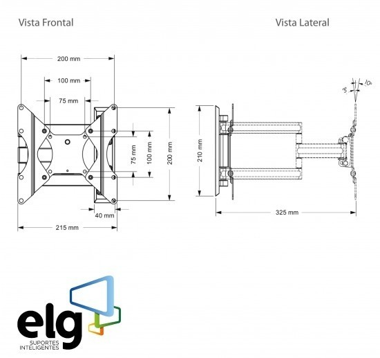 Suporte Articulado de Parede para TVs de 15 a 32 - EM02V2 - ELG