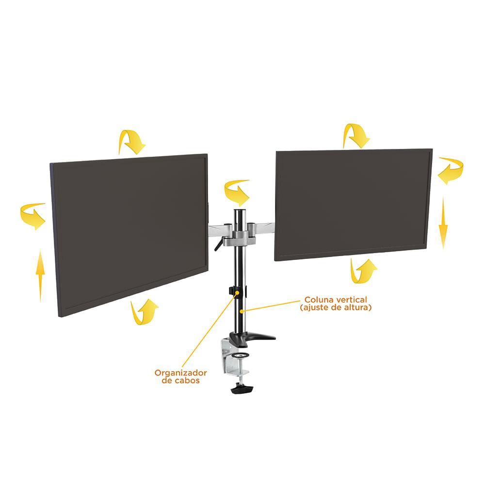Suporte Multi Articulado De Mesa 2 Monitores 15 27 F50d2 Elg