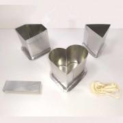 KIT formas p/ velas: coração, diamante, triangular
