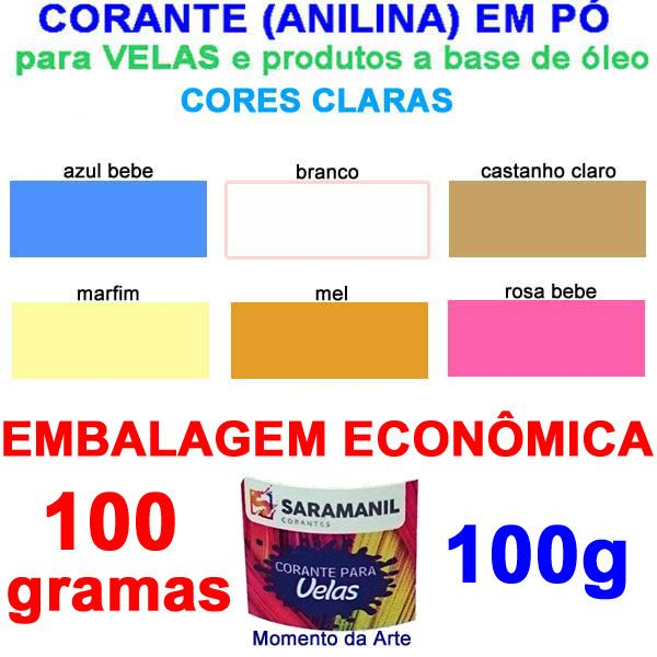 z Corantes (anilina a óleo) para velas 100g - cores  claras