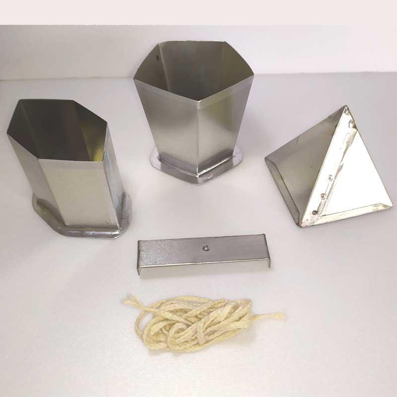 KIT formas p/ velas: bico de papagaio/piramide/vaso