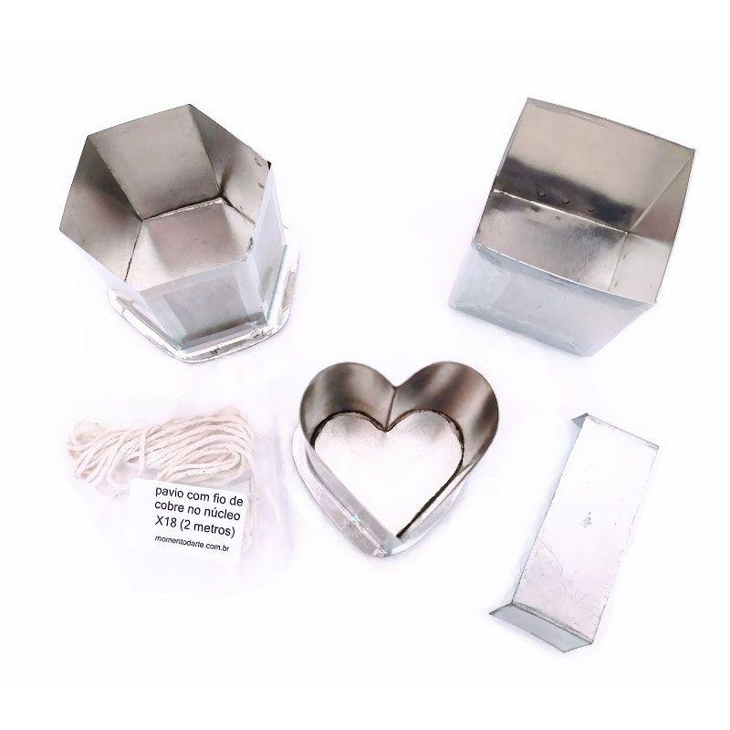 Kit formas para velas 1 (coração, quadrada, sextavada)