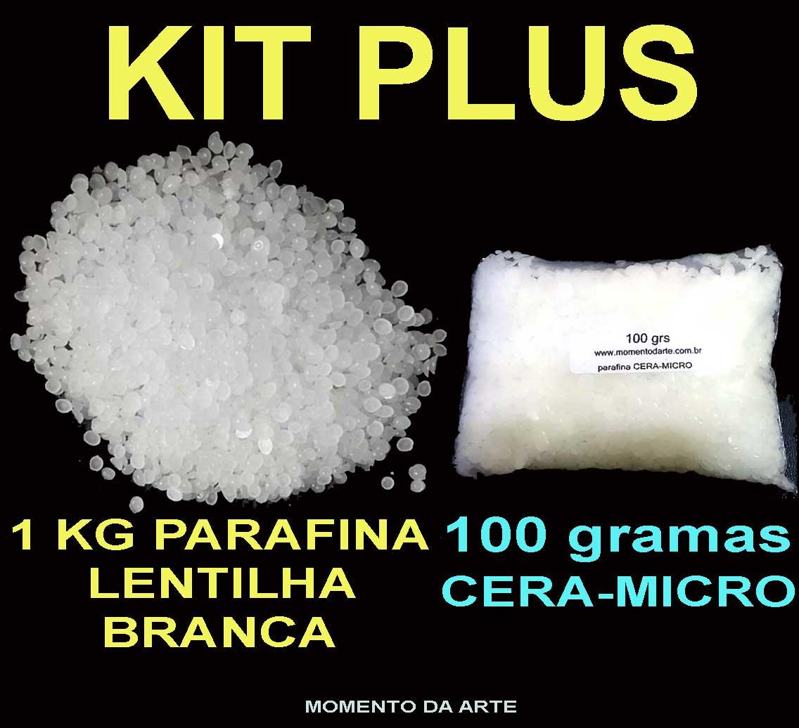 KIT PLUS (1kg parafina em lentilha branca e 100grs de cera-micro)