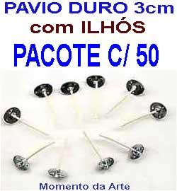 Pavio duro 3cm c/ilhos - pacotes c/ 50 e 500 unid.