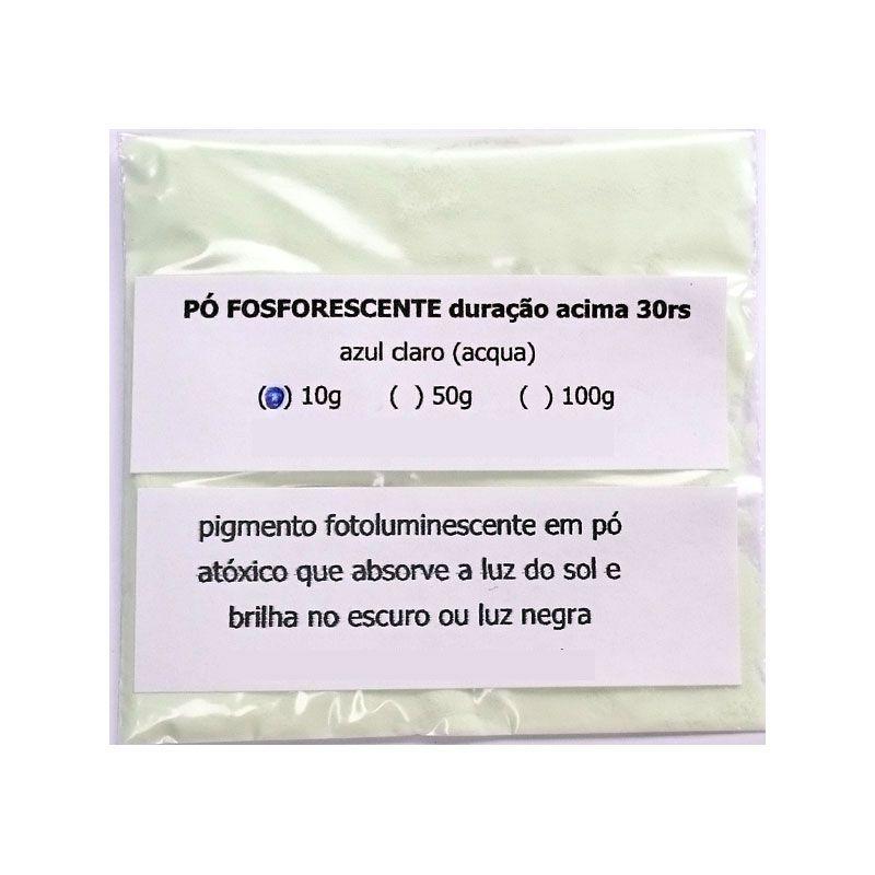 Pó Fosforescente 30hs (10g, 50g, 100g) Azul-Claro (brilha no escuro e na luz negra)