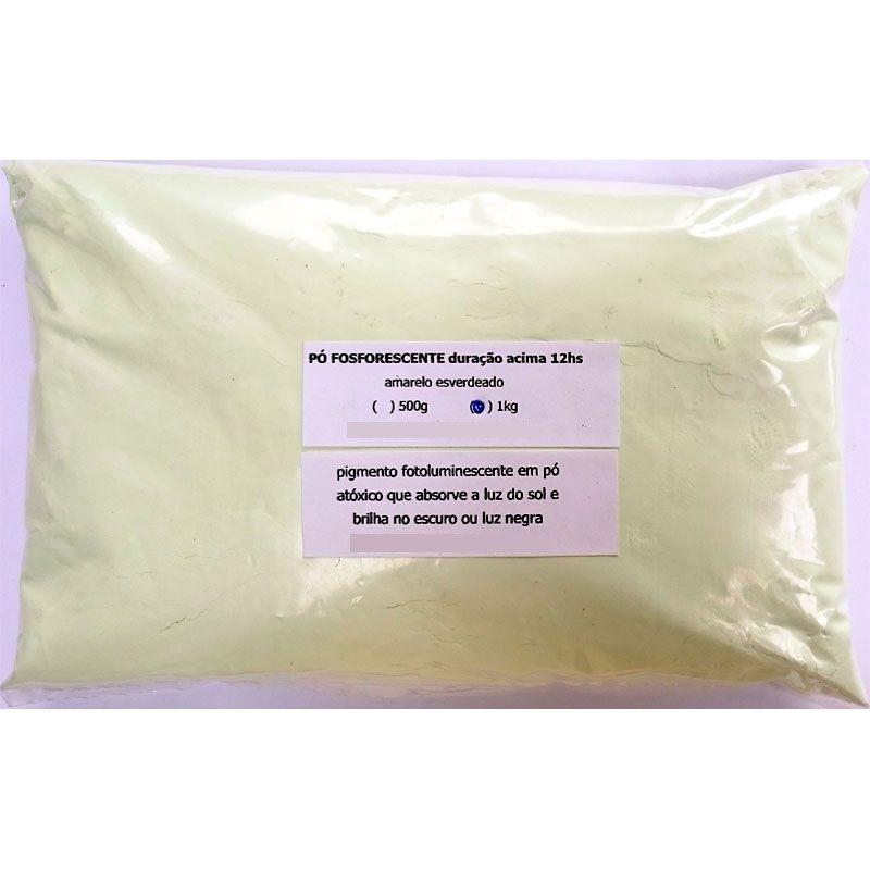 Pó Fosforescente até 8hs (500g, 1Kg) Amarelo-esverdeado (brilha no escuro e na luz negra)