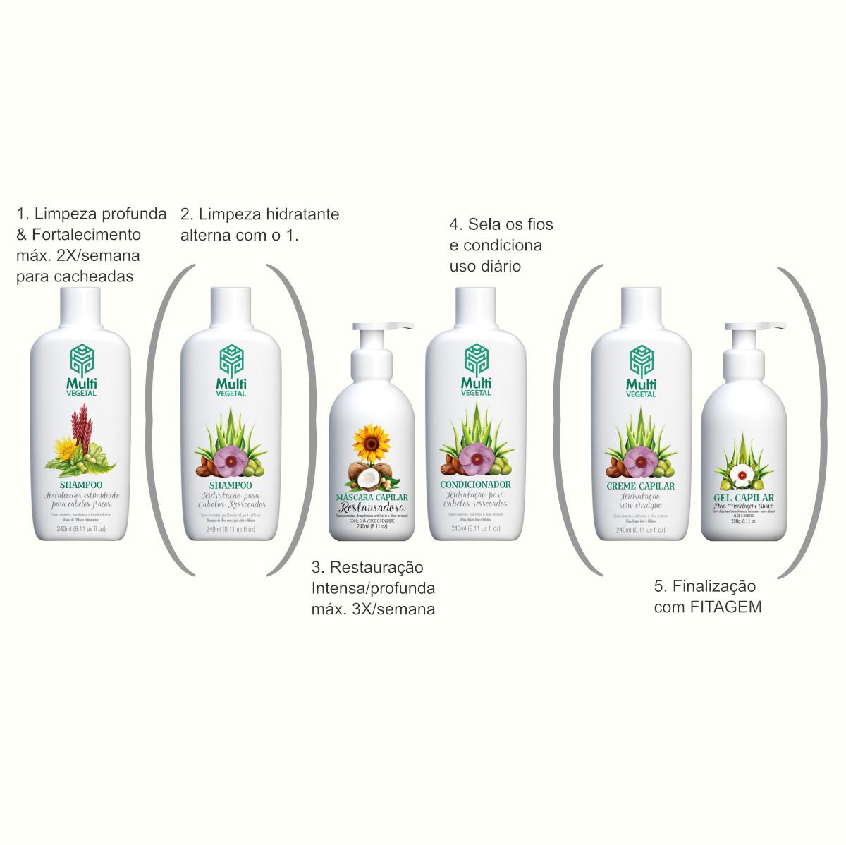 Combo Cacheadas Limpeza + Fortalecimento + Hidratação profunda + Fitagem Multi Vegetal