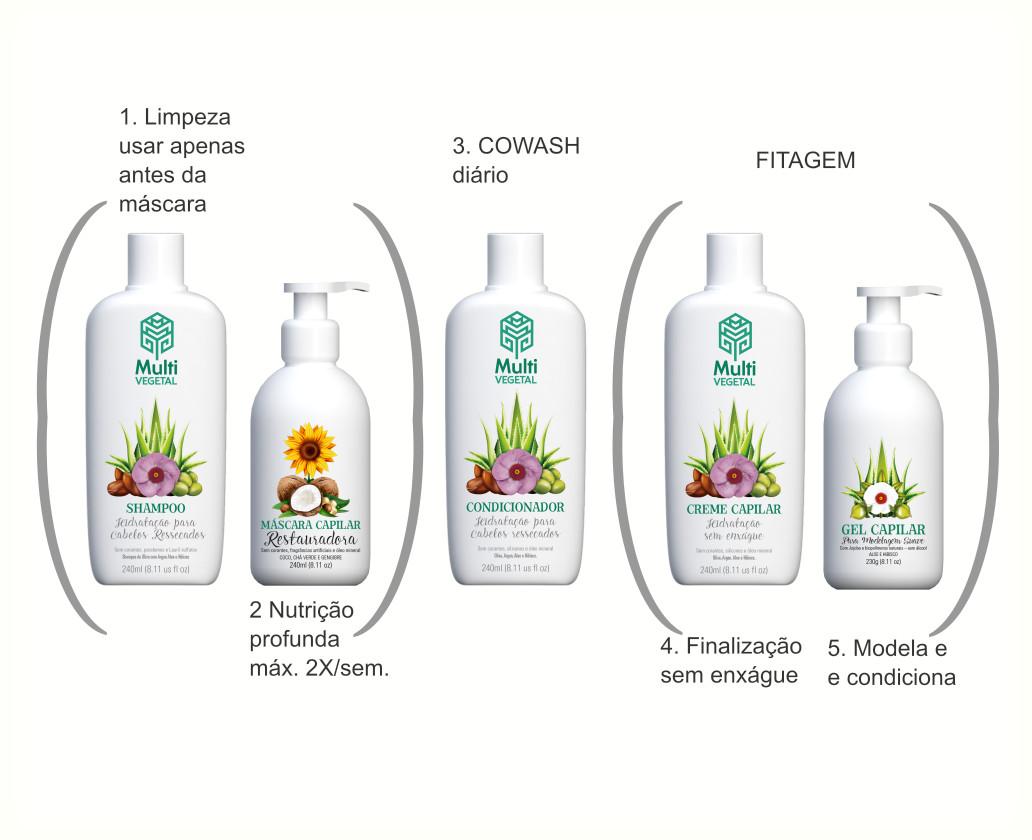 Combo Cabelo Crespo Limpeza + Nutrição + Co-wash + Finalização com Fitagem Multi Vegetal