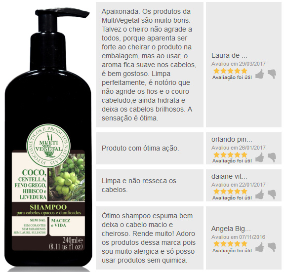Shampoo de Côco Multi Vegetal 240ml