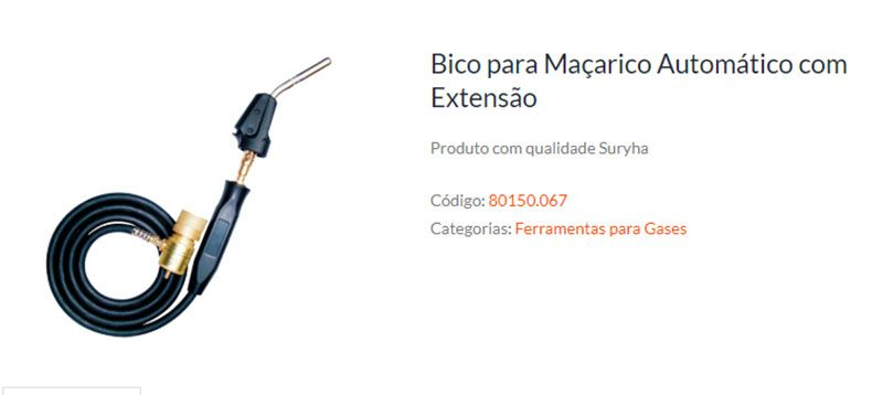 Bico para Maçarico Automático com Extensão SURYHA 80150.067