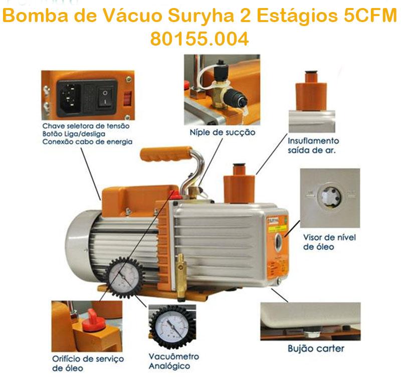 Bomba De Vácuo 5cfm Com Manômetro Duplo Estagio Suryha 80155.004