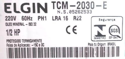 Compressor Elgin Media Pressão Potencia 1/2HP  Tensão 220V Gás R22 Mod. TCM2030E