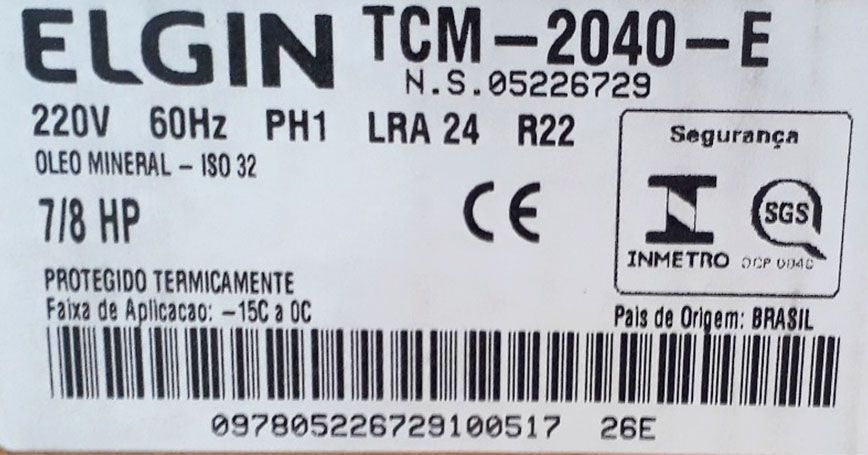 Compressor Elgin Media Pressão Potencia 7/8HP 220V Gás R22 TCM2040E
