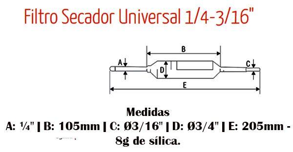 Filtro Secador de Cobre c/ Rabicho Universal E1/4 x S 3/16 PCT c/05