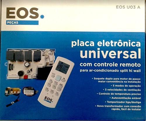 Kit Controle Remoto com Placa Universal Ar Condicionado Split EOS U03A
