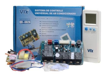 Kit Controle Remoto Com Placa Universal Ar Condicionado Split Hi Wall VIX Mod. QD-U02B