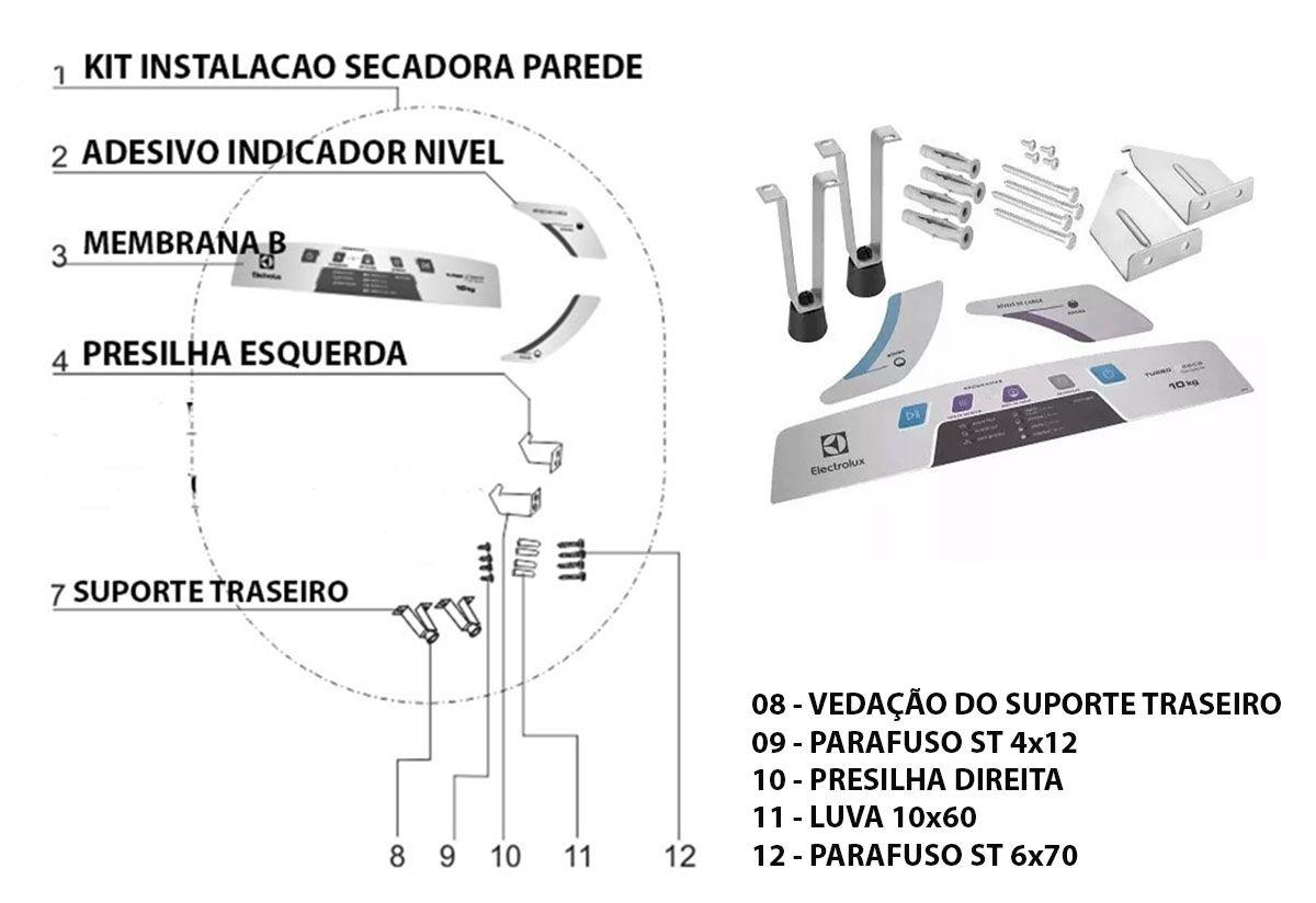 Kit Instalação Secadora De Parede Electrolux Svp10- 80000620