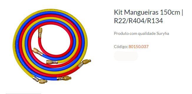 KIT MANGUEIRA MANIFOLD 150CM P/ R22/R134/R404 SURYHA 80150.037