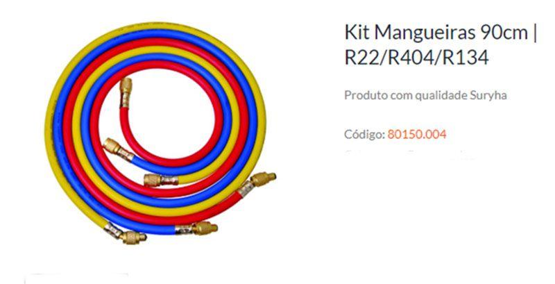 KIT MANGUEIRA MANIFOLD 90CM P/ R22/R134/R404 SURYHA 80150.004